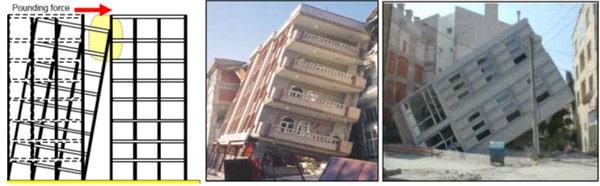 خرابی سازه به دلیل روان گرایی خاک و عدم اجرای درز انقطاع ساختمان