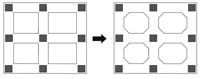 پخ کردن محل اتصال ستون به فونداسیون برای کنترل برش پانچ