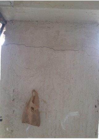 ترک ایجاد شده در دیوار بدلیل خیز بیش از حد