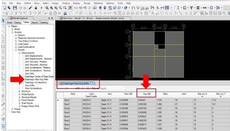 محاسبه دریفت طبقات جهت کنترل شاخص پایداری سازه در ETABS