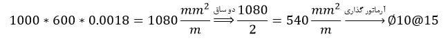 محاسبه حداقل آرماتور مورد نیاز در جهت عمود بر آرماتورهای طولی پی نواری