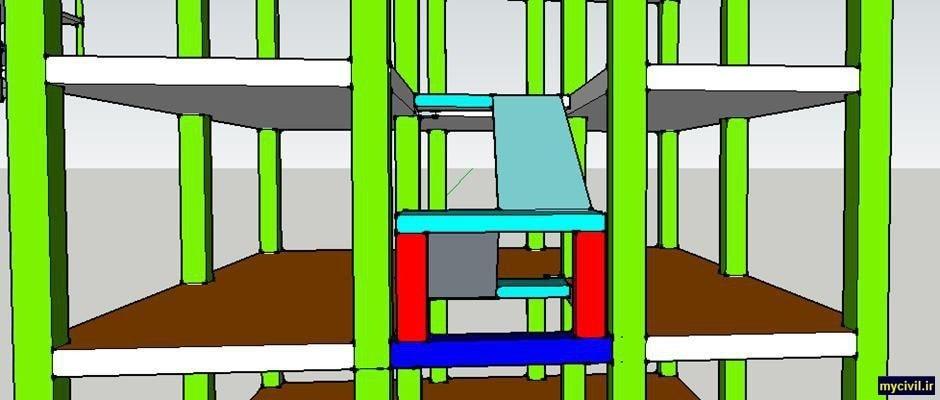 اتصال ستونک های دستگاه پله به تیر زیرین
