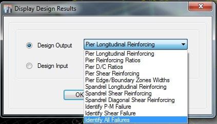 پنجره Display Design Info در ایتبس بمنظور خروجی گرفتن برای آرماتور گذاری دیوار برشی