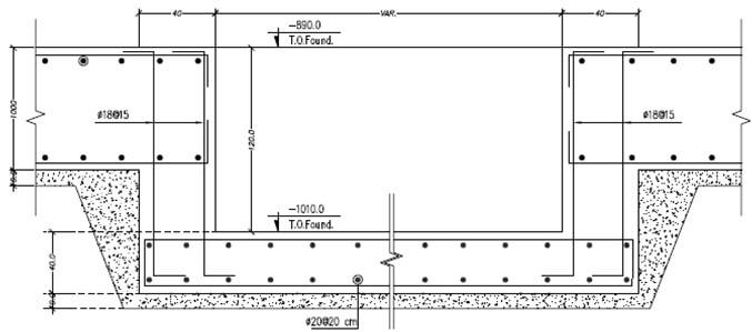نقشه آرماتورگذاری چاهک آسانسور