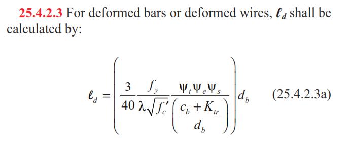 فرمول طول مهاری آرماتور مطابق ACI318-14