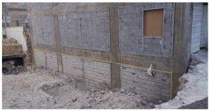 دیوار حائل بنایی با آجر فشاری و ملات ماسه سیمان