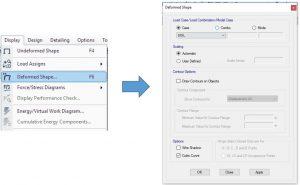 تنظیمات نمایش تغییر شکل دیوار حائل در etabs