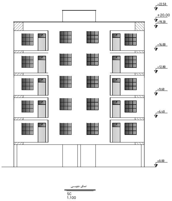 نقشه نمای ساختمان
