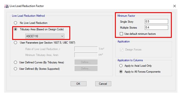 تنظیمات کاهش بار زنده در نرم افزار ایتبس