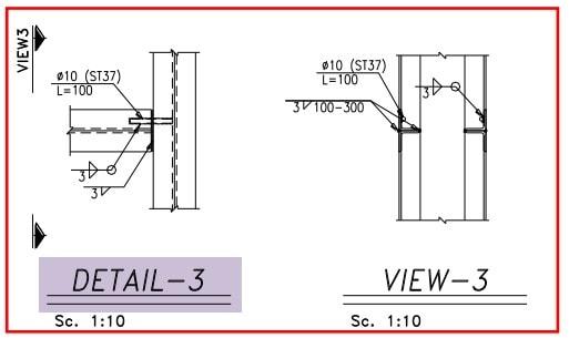 محل اتصال کلاف افقی به قائم در سازه فولادی