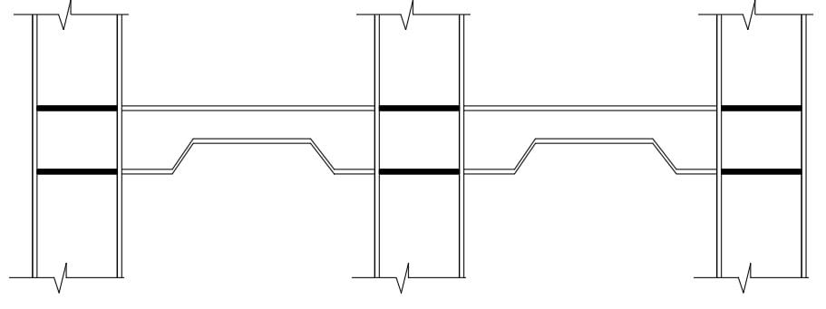 کاهش عمق تیر در خارج از ناحیه چشمه اتصال