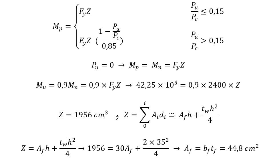تعیین مقطع اولیه در طراحی تیر پیوند