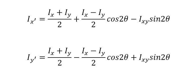روش چرخش (دوران) محورها محاسبه ممان اینرسی