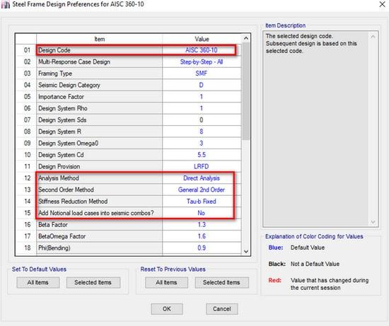 اصلاح تنظیمات روش تحلیل مستقیم در etabs