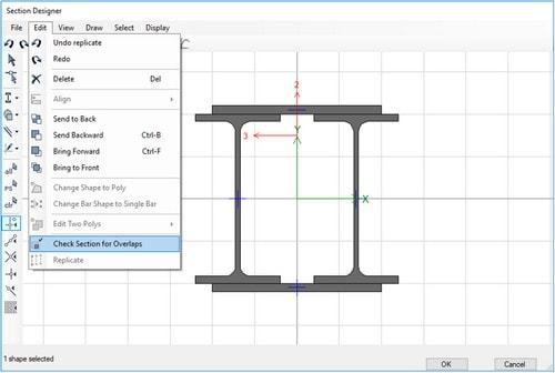 کنترل عدم وجود همپوشانی مقاطع مرکب فولادی در Section Designer
