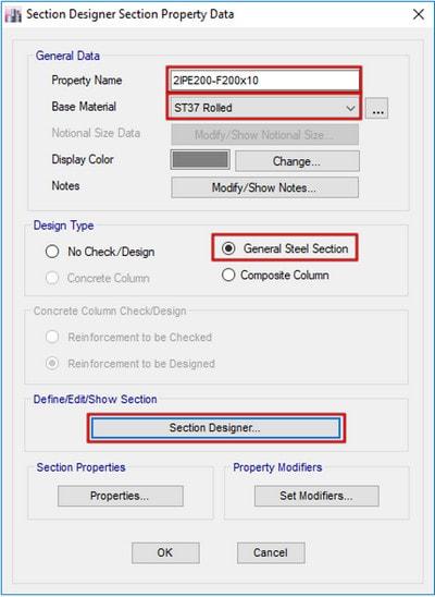 نام گذاری و تعیین جنس مصالح مقطع مرکب در محیط SD( مرحله به مرحله ساخت مقاطع در ایتبس)