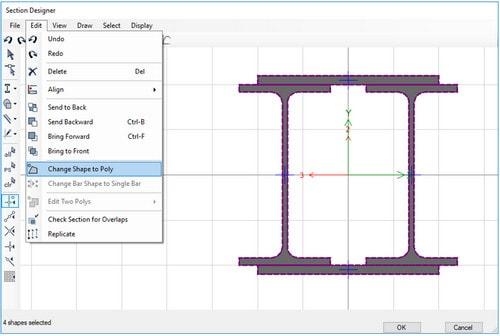کنترل ابعاد هندسی مقطع مرکب فولادی در محیط SD(رفع ایرادات SD section)