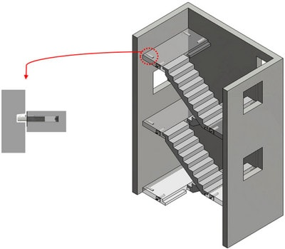 نحوه اتصال رمپ پله پیش ساخته در سازه بتنی