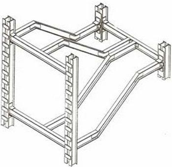 جزئیات سه بعدی شمشیری راه پله دو طرفه