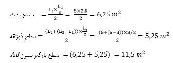 محاسبه سطح بارگیر ستون