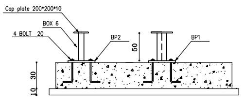 جزئیات اتصال ستونک های ضربهگیر در کف چاهک آسانسور
