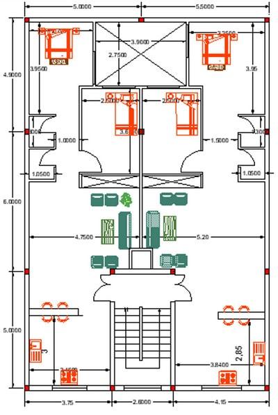 پلان اتوکد پروژه سازه فولادی با سقف کامپوزیت