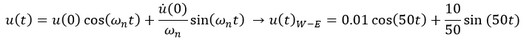 معادله ارتعاش آزاد میرا و نامیرا  جسم در جهت جهت شرقی-غربی