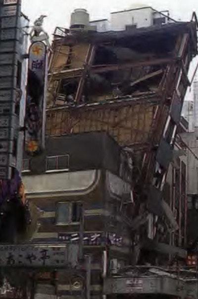 آسیب های وارد بر ساختمان به دلیل شکست مهاربند ها در زلزله کوبه