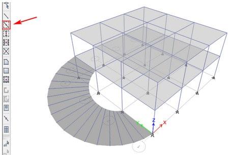 مدلسازیرمپ چرخشی پارکینگ در etabs