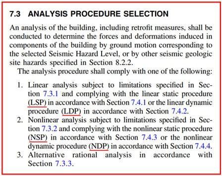روش های تحلیل سازه ها در استاندارد ASCE41-17