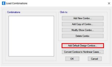 تنظیمات پیش فرض ترکیب بارهای طراحی